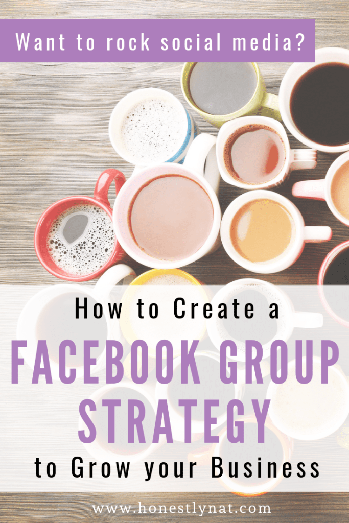 """Group of coffee mugs with the text overlay """"Want to rock social media? How to Create a Facebook Group Strategy to Grow your Business"""""""