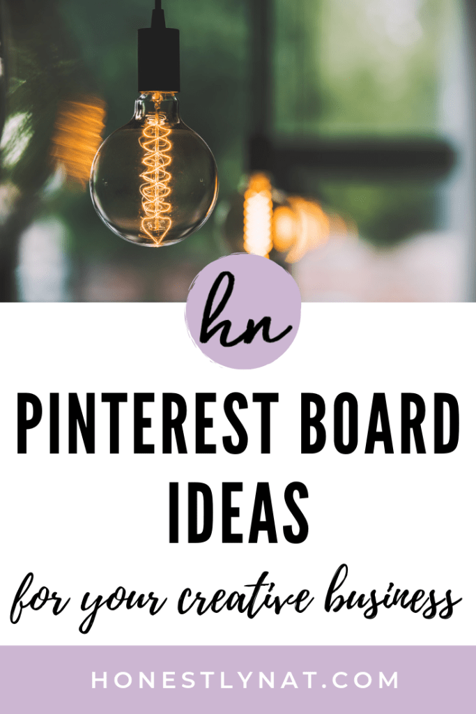 "Vintage lightbulb dangling with the text overlay ""Pinterest Board Ideas for your creative business"""