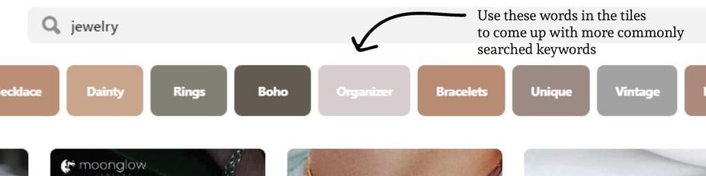 Pinterest keywords in tiles example