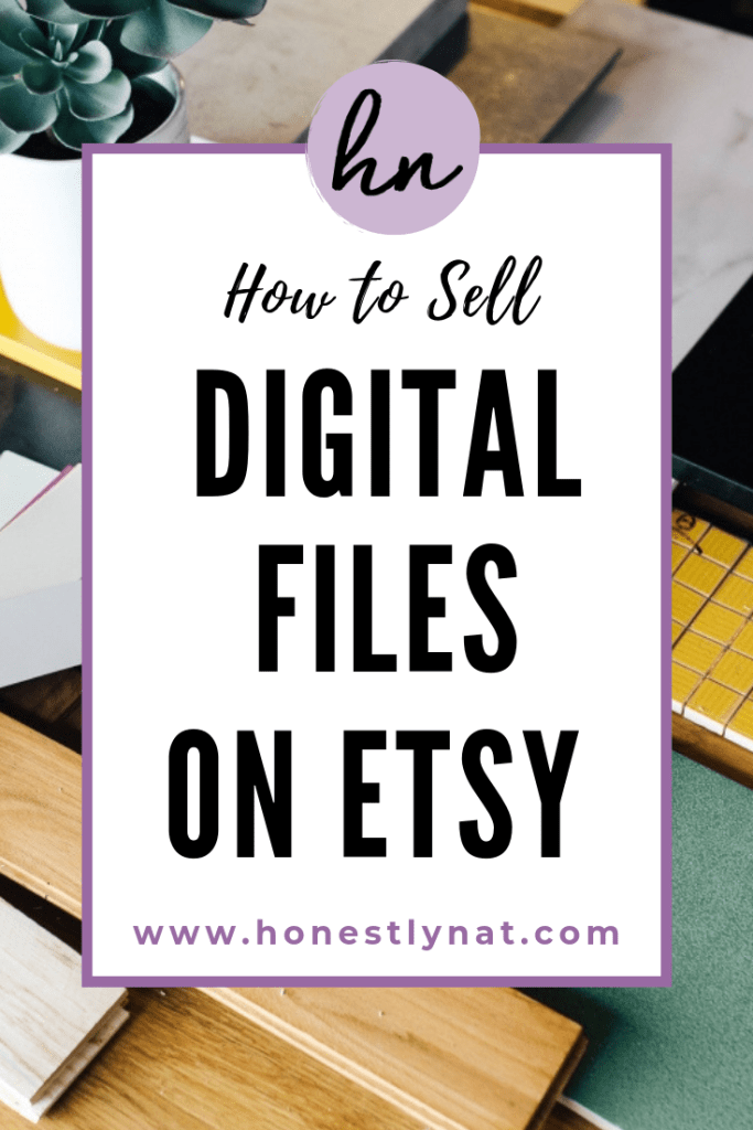 """Decorative designer's desk with the text overlay """"How to sell digital files on Etsy"""""""