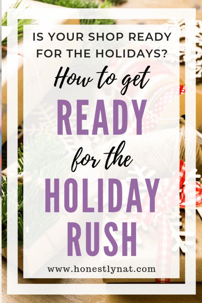 "Pretty wrapped holiday packages with the text overlay ""Is your shop ready for the holidays?  How to get ready for the holiday rush"""