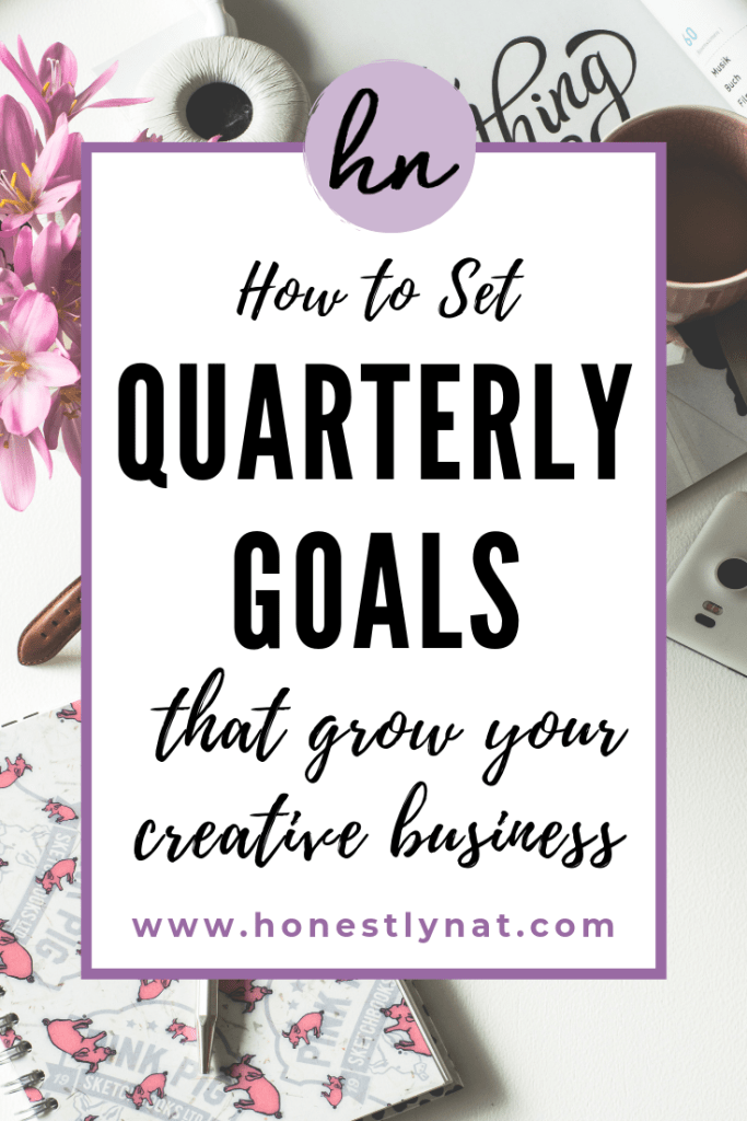 "Desk with notebook and flowers with the text overlay ""How to set quarterly goals that grow your creative business"""