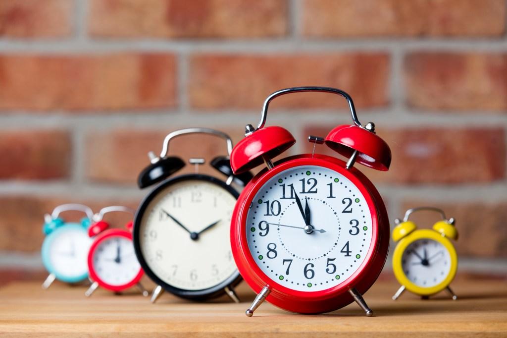 Bright set of retro alarm clocks