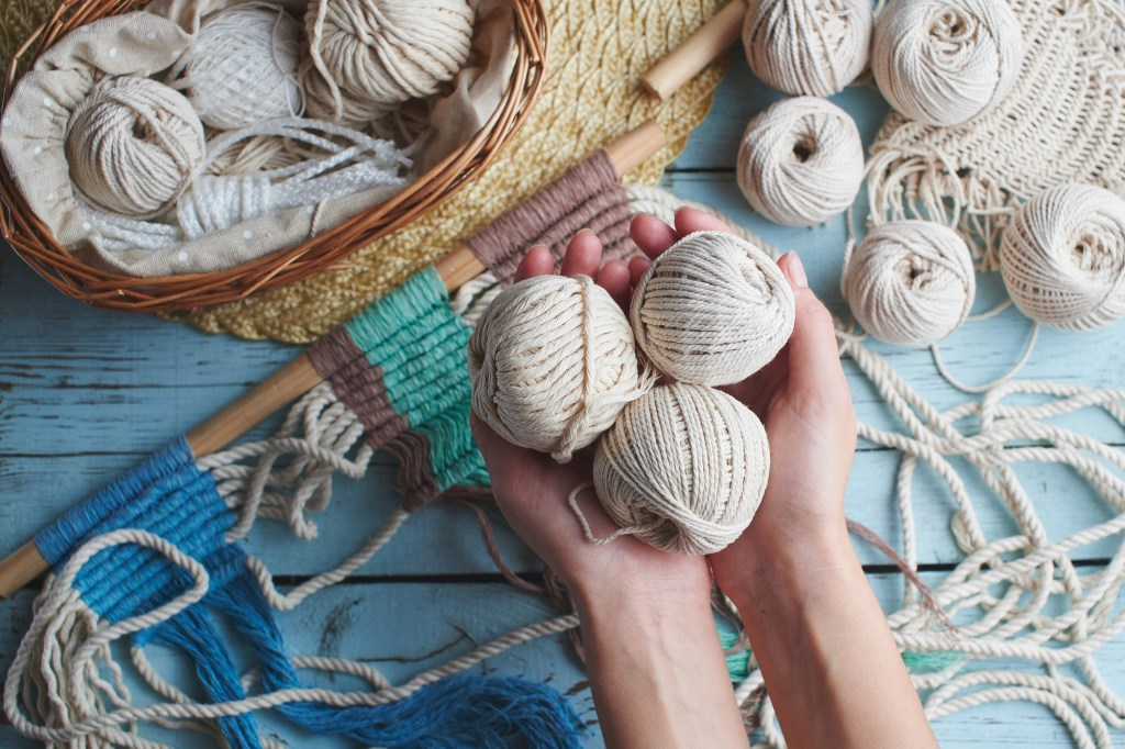Macrame yarn in handmade workspace