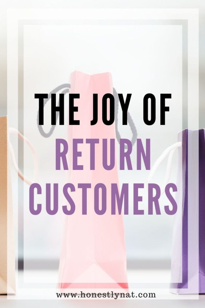 "Shopping bags on a window ledge with the text overlay ""The Joy of Return Customers"""