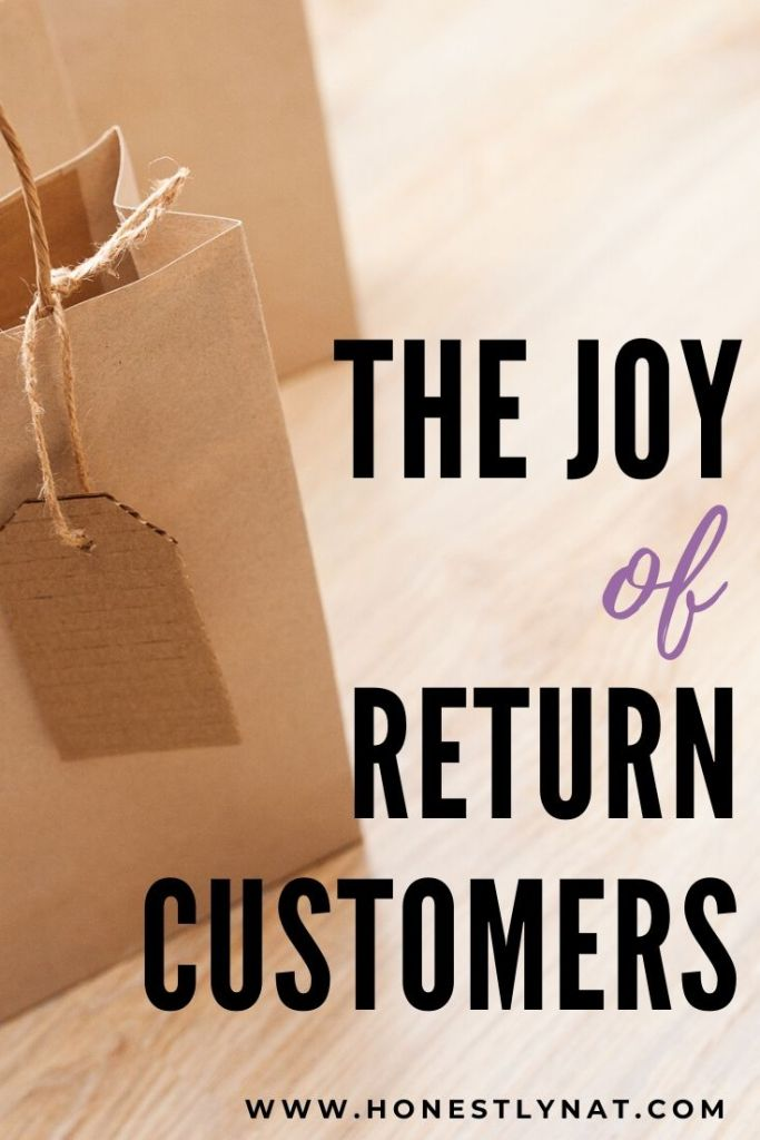 "Close up of kraft shopping bag with the text overlay ""The Joy of Return Customers"""