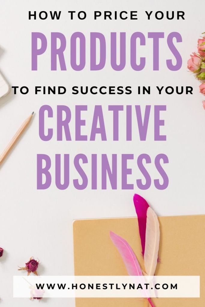 "Feminine desk flat lay with colorful feathers and the text overlay ""How to price your products to find success in your creative business"""
