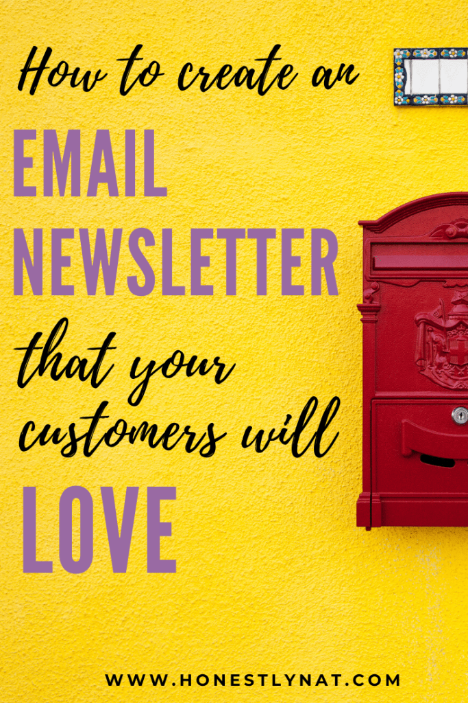 "Red mailbox on yellow wall with the text overlay ""How to create an email newsletter that you customers will love"""