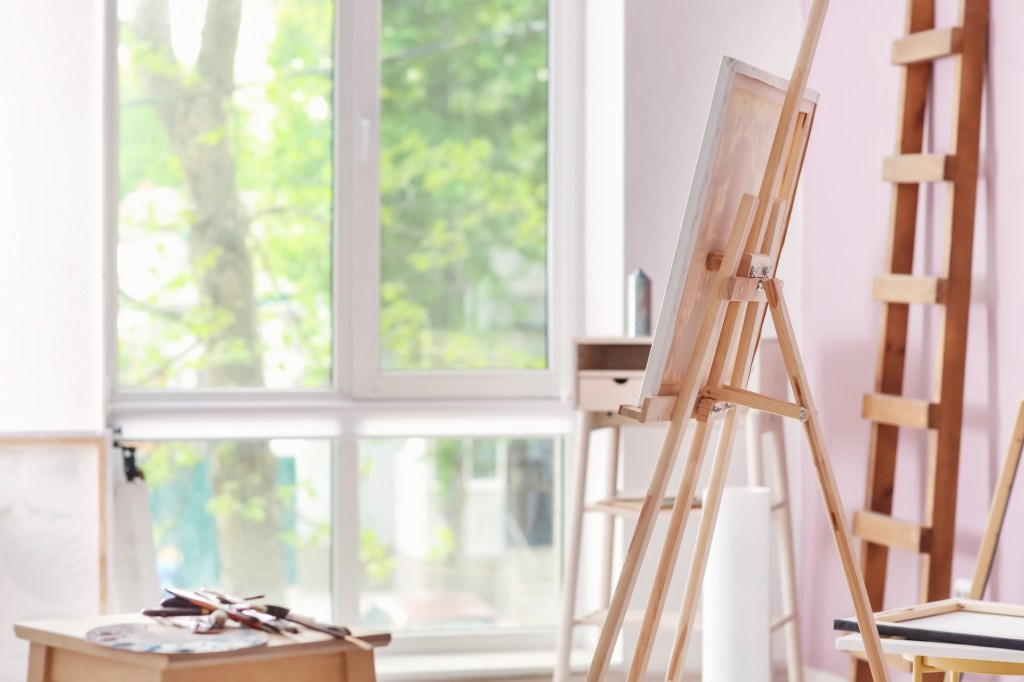 art studio with easel