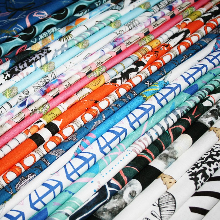 Print & Press _ Rainbow of folded digitally printed fat quarters