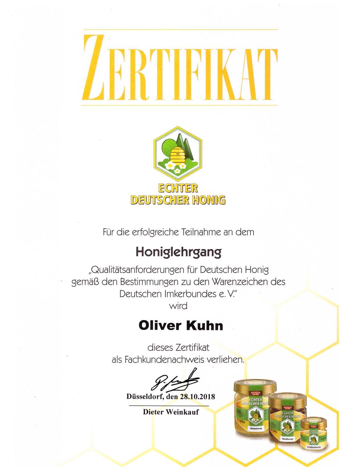 Honey Kuhn ist zertifizierter Honigproduzent aus Moerfelden Walldorf