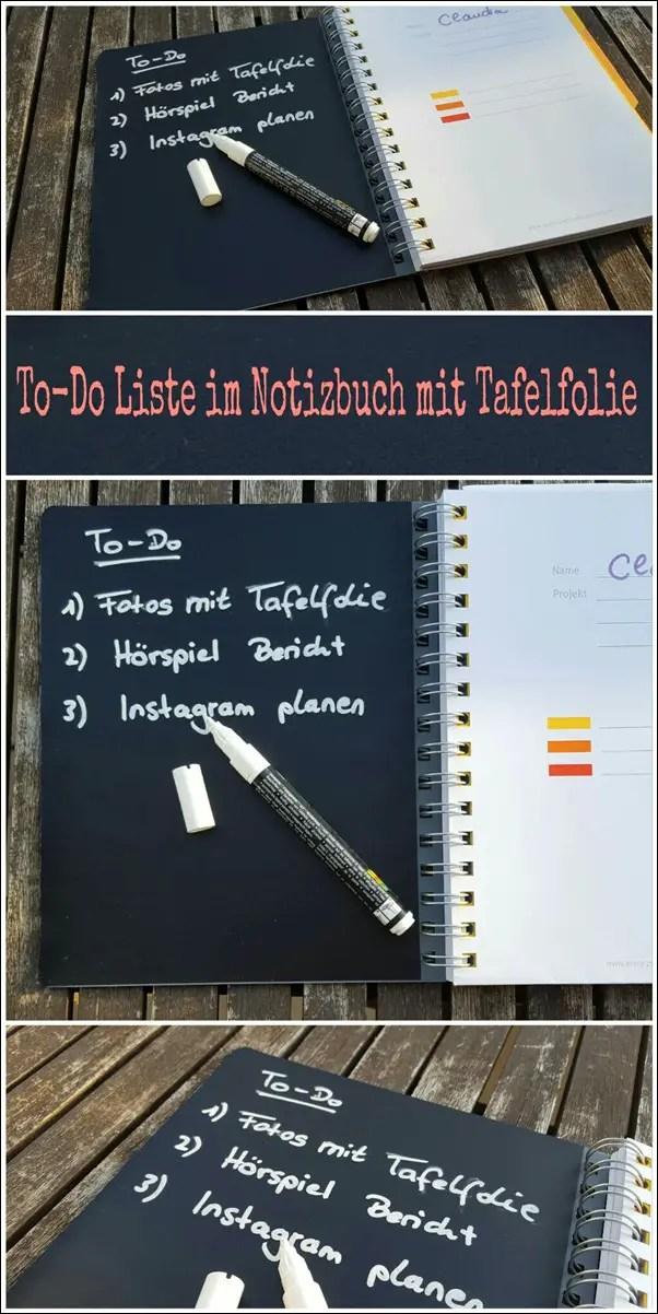 To-Do Liste im Notizbuch mit Tafelfolie