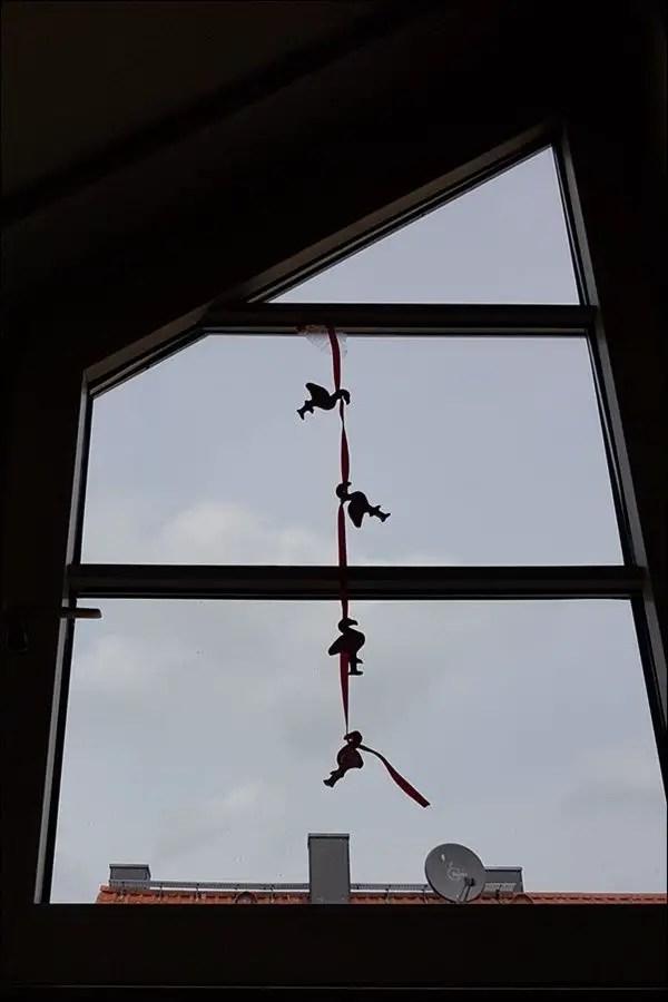 Flamingo Fensterdeko aus Salzteig