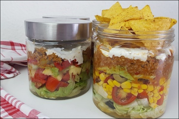 Salat im Glas Lowcarb & Highcarb
