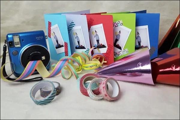Ideen mit der Instax - Einladungskarten für Kindergeburstag basteln