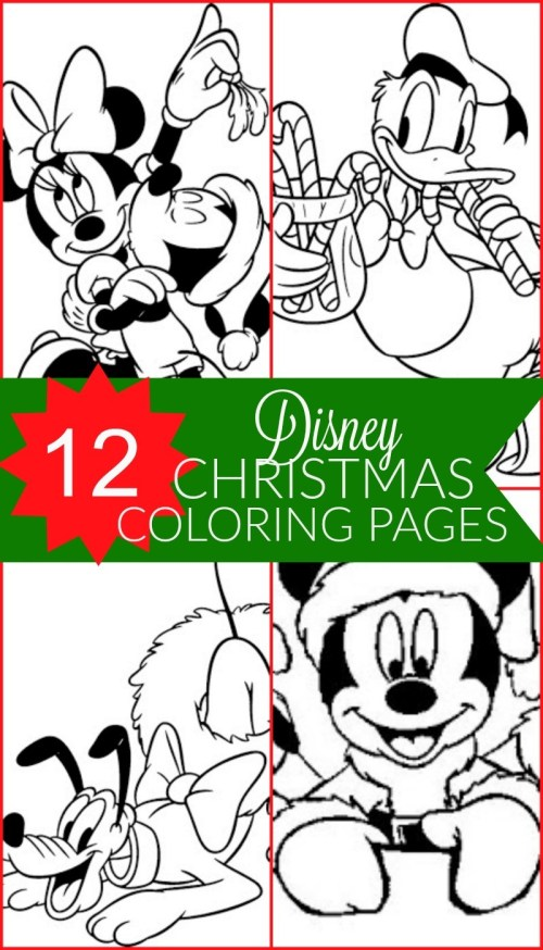 12 Free Disney Christmas Printable Coloring Pages - Mickey Mouse, Minnie, Donald, Goofy, Pluto, and more, my kids love these holiday coloring pages!