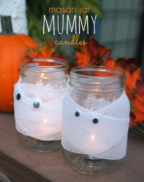 DIY Halloween Decor and Crafts, Make these Halloween Mason Jar Mummy Candles
