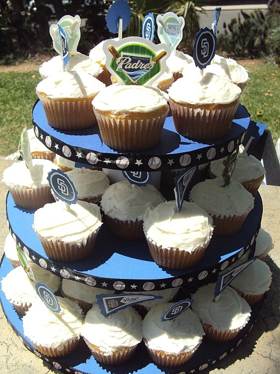 San Diego Padres DIY Baseball birthday party cupcake tower