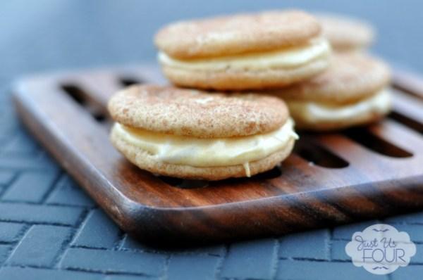 Pumpkin-Filled-Snickerdoodle Sandwich Cookies, Just Us Four Blog