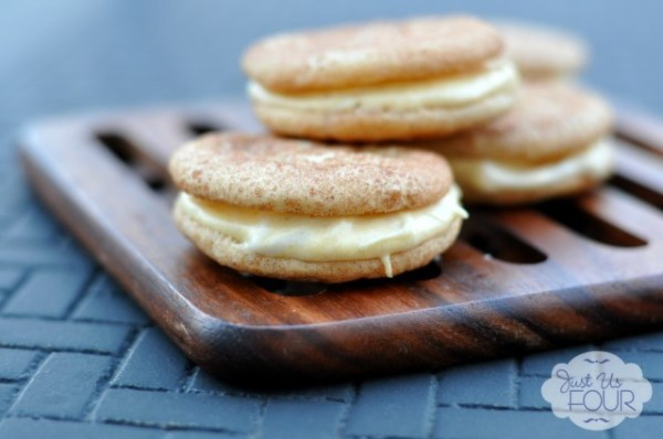 Pumpkin-Filled-Snickerdoodle Sandwich Cookies, Just Us Four Blog