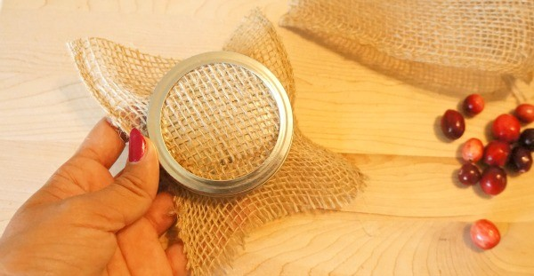 DIY Holiday Cranberry Orange Stove Top Potpourri, add burlap square to the inside of the lid