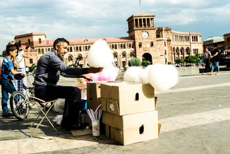Street vendor selling cotton candy in Republic Square Yerevan Armenia