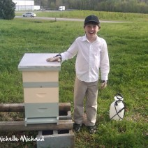 And Koty with hive before we poured in the bees.