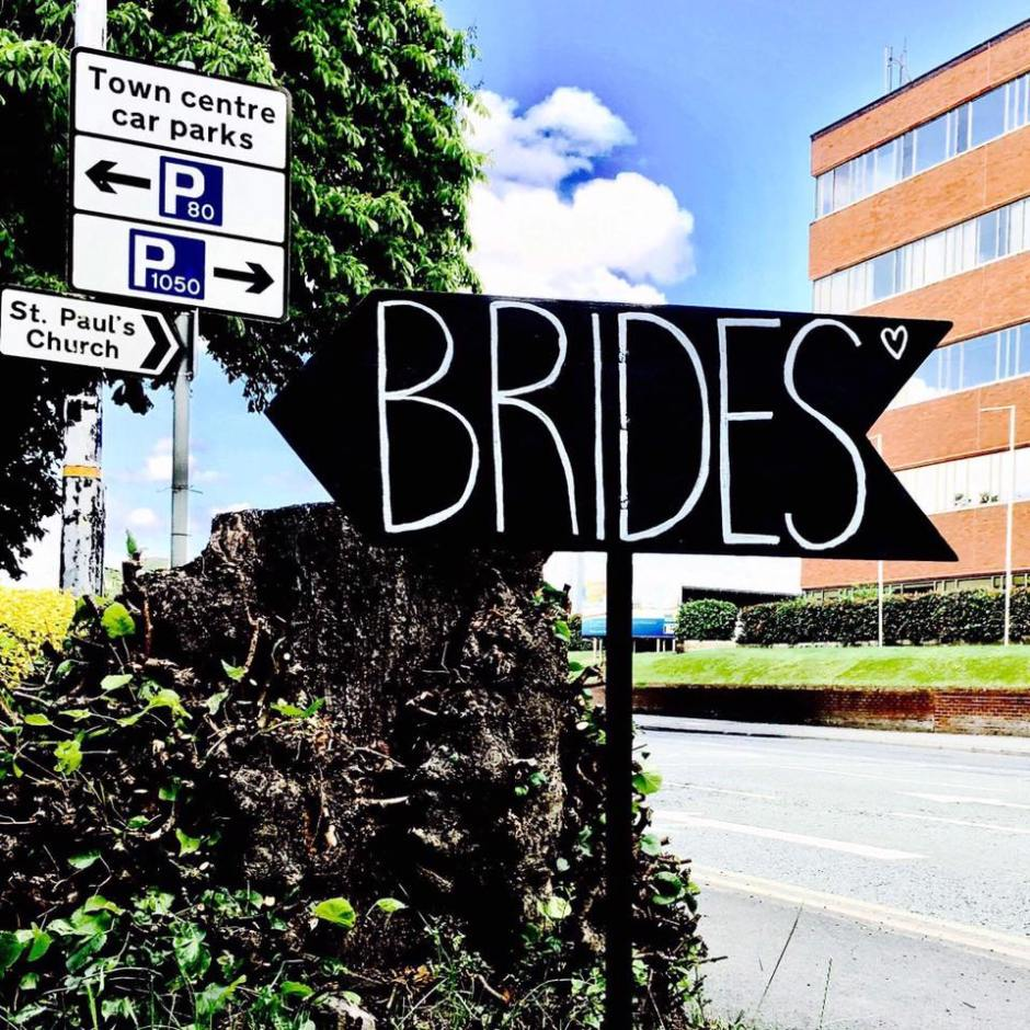 Manchester bridal shop brides sign