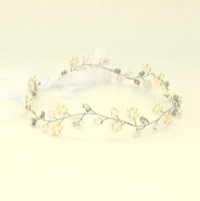 Crystal and pearl boho wedding hair vine - Eden