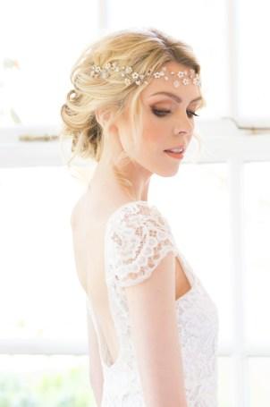 Crystal and pearl boho bridal hair vine - Eden