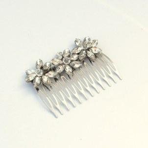 Floral crystal bridal hair comb - Aria