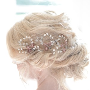 Pearl and coloured crystal wedding hair pins - Iris