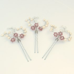 Pearl and coloured crystal bridal hair pins - Iris