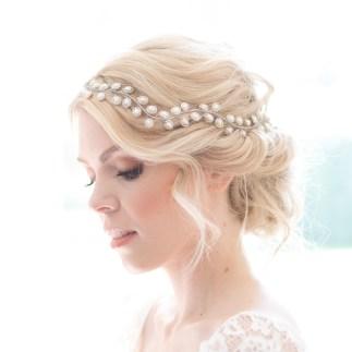 Freshwater pearl boho bridal hair vine - Auralia