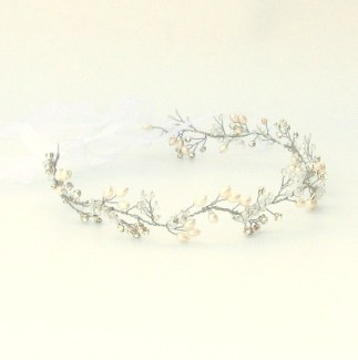 Crystal and pearl bridal hair vine - Fern