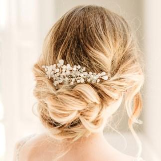 Pearl and Swarovski crystal bridal hair slide - Madelyn