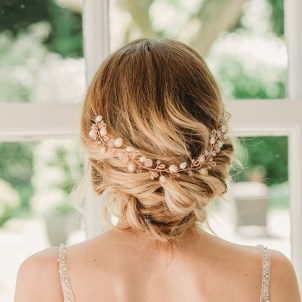 Rose gold and pearl wedding hair vine - Aylin