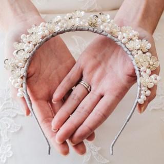 Floral and pearl bridal crown -Rhea