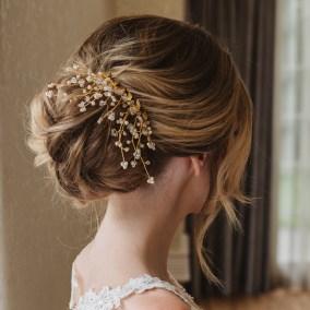 Gold and Swarovski crystal bridal hair comb - Aura