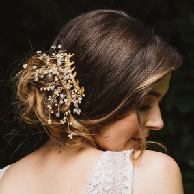 Gold and Swarovski crystal bridal hair slide - Aura
