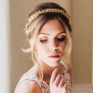 Gold and pearl bridal hairband - Hera