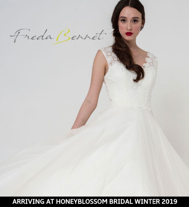 Freda Bennet Freya wedding gown arriving soon to Honeyblossom Bridal