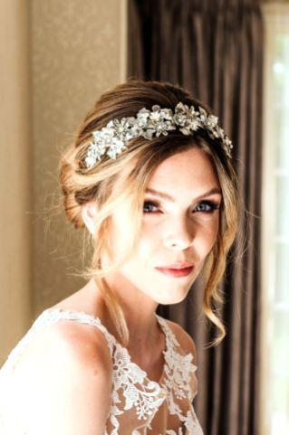 Silver floral, pearl and Swarovski crystal bridal hair band