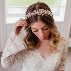 Silver pearl and Swarovski crystal bridal hairband - Antheia