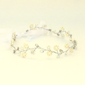 Handmade bridal pearl and Swarovski hair vine - Eden