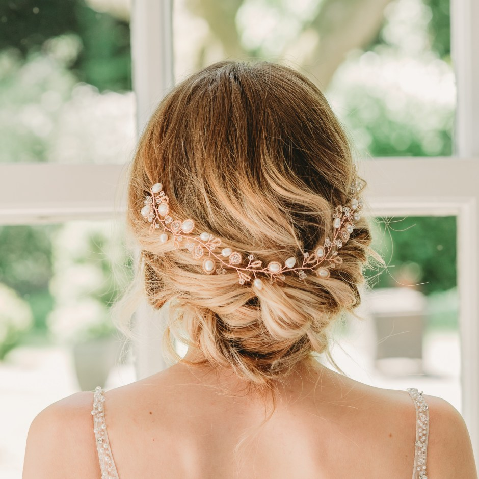 Rose gold and pearl wedding hairvine - Aylin