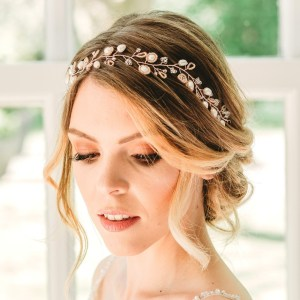 Handmade rose gold bridal hairvine - Aylin