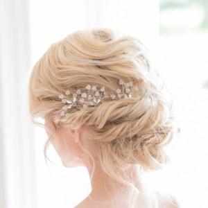 Silver and crystal wedding hairpins - Azalea