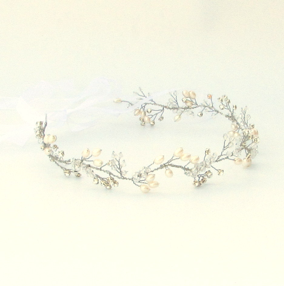 Silver wedding hair vine with crystal and pearl - Fern