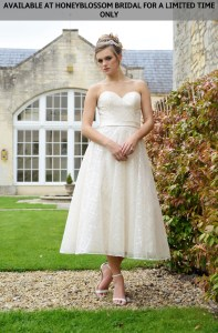 GAIA Reese tea length wedding dress - Available at Honeyblossom Bridal for a limited time only